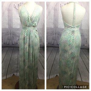 Tart Green Dress Maxi Snake Print Halter M
